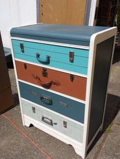 Vintage Suitcase Dresser in Fusion Mineral Paint. Contact ReLoving.ca to purchase. Follow what's for sale on Facebook too at: https://www.facebook.com/media/set/?set=a.371894289601851.1073741834.293342697457011&type=3