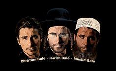LOL not PC but I love it!!!!!!!!   tshirthell.com   CHRISTIAN BALE - JEWISH BALE - MUSLIM BALE  T-SHIRT,