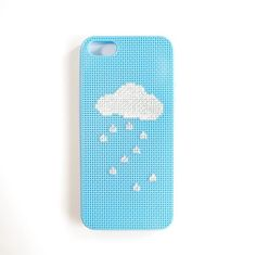 Rain cloud iphone 5 cross stitch case, rain drops iphone 5/5s cross stitch cover, iphone 5/5s cross stitch case