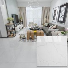 Buy High Quality & Cheap 600 x White Polished Ceramic Floor Tiles From China Foshan Hanse Tile Manufacturer. Living Room White, Living Room Modern, Home Living Room, Living Room Designs, Living Room Decor, Floor Tile Living Room, Living Room Flooring, Bedroom Flooring, Tile Bedroom