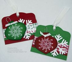 tag two tags with snowflake punch christmas