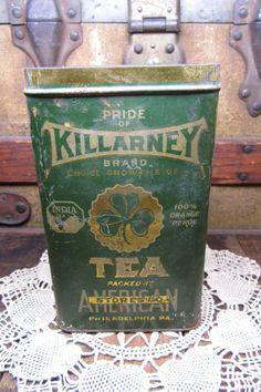 Antique Tin Killarney Irish Tea Distressed