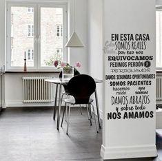 vinilo decorativo pared frase en esta casa