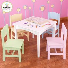 Pastel Nantucket Table Set by KidKraft at aBaby. The Pastel Nantucket Table Set comes with four chairs: one sky, sage, buttercup, and pink. Shop for KidKraft table and chair set at affordable prices. Kids Table And Chairs, Kid Table, Table And Chair Sets, Table 19, Kids Furniture, Furniture Sets, Furniture Decor, Repurposed Furniture, Furniture Stores