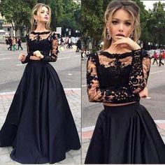 Black Prom Dress, Long sleeves Prom Dress, Two pieces Prom Dress, Long Prom Dress, 2016 Prom Dress, BD074