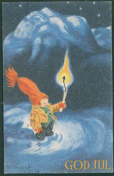 Kjell Aukrust (1920-2002) Norway. Postcard postmarked 1951. Christmas Postcards, Christmas Images, Dahl, Solitude, Norway, Scandinavian, Santa, Magic, Artists