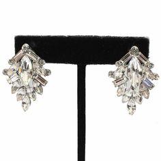 Elegant Clear Silver Clip On Crystal Earrings Rhinestone