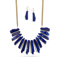 TAZZA GOLD-TONE NAVY BLUE ACRALIC EARRINGS AND NECKLACE SET #HNN+E86468GDN -- Awesome products selected by Anna Churchill