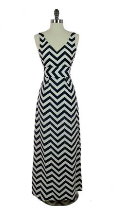 Navy Chevron Maxi Dress; wow, love it!  Could I make it?  Not paying $129 for polyester!