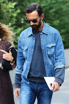 beard denim sunglasses sweater sweatshirt fashion men tumblr style streetstyle denim jacket jeans