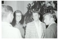 """Los Angeles, CA on Monday, September 10, 1956: Elvis attended together with actor-friend Nick Adams (on the right) and Natalie Wood (not in this picture) the screening of Gary Cooper's """"Friendly Persuasion""""."""
