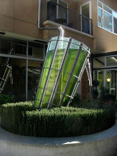 Buster Simpson's artistic solution to rainwater from a downspout.