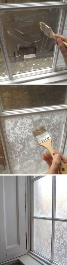Favorites Friday! Lace Window Treatment With Cornflour by Handimania! Check our how she did this by clicking on the picture below, I already got my old window to do this to, cant wait to get it sta…