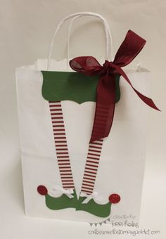 Holiday Extravaganza Project 1 :: Confessions of a Stamping Addict Lorri Heiling Christmas Gift Bag Stampin' Up - travel bags for women, leather hobo bags, black and white bag *ad