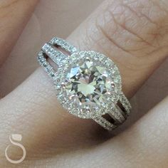 You can create a custom diamond halo engagement ring with us and Sylvie Collection!