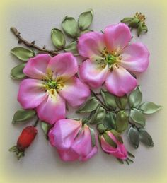 Wonderful Ribbon Embroidery Flowers by Hand Ideas. Enchanting Ribbon Embroidery Flowers by Hand Ideas. Ribbon Embroidery Tutorial, Silk Ribbon Embroidery, Hand Embroidery Designs, Embroidery Applique, Embroidery Patterns, Embroidery Thread, Embroidery Supplies, Eyebrow Embroidery, Flower Embroidery