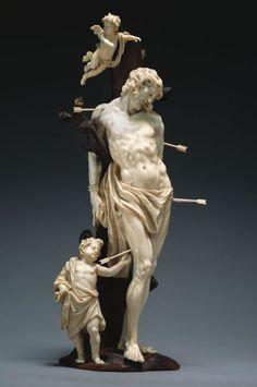 Attribuée à Francis VanBossuit (1635-1692), statuette de saint Sébastien en ivoire, h.34cm. (Survol biographie du sculpteur sur le site source de l'image)