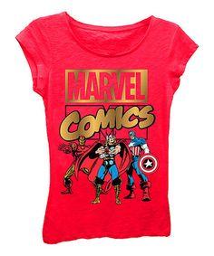 Look what I found on #zulily! Red 'Marvel Comics' Tee - Girls #zulilyfinds