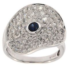 1.85 Cttw Round Cut Diamonds and Sapphire Cocktail Ring in 14K White Gold by…