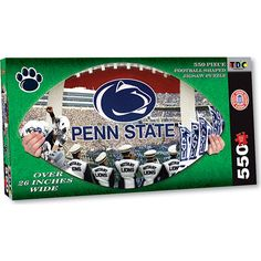 "Penn State Football Shaped Puzzle: This 550-piece, football shaped jigsaw puzzle features a colorful collage of Penn State images. The puzzle measures over 26"" wide when complete!  $14.99  http://www.calendars.com/Penn-State-Nittany-Lions/Penn-State-Football-Shaped-Puzzle/prod201200008597/?categoryId=cat00630=cat00630#"