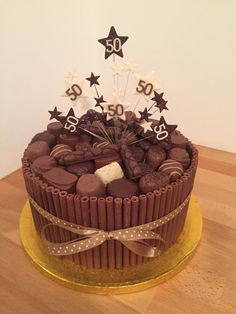 Chocolate cigarello 50th birthday cake More