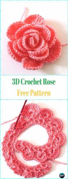 Crochet Flowers Easy Easy Crochet Rose Flower Free Pattern in 9 Steps - Crochet Rose Flowers Free Patterns Diy Crochet Flowers, Crochet Puff Flower, Crochet Simple, Unique Crochet, Crochet Flower Patterns, Crochet Designs, Pattern Flower, Beau Crochet, Crochet Diy