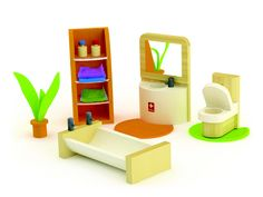 A doll family can get ready for work or soak in the tub in this modern bathroom with everything needed for a clean and happy family. The Hape Bamboo Sunshine Doll House and furniture collection is the first to offer children eco-friendly materials combined with contemporary design and modern technology.