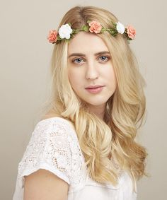 Look at this Peach & White Rose Halo Headband on #zulily today!