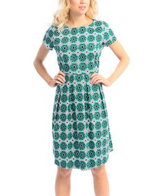 Love this Green Circle Pleat A-Line Dress by Maglia on #zulily! #zulilyfinds