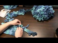 Learn how to attach a new skein of yarn when knitting with loop yarn. Loop yarn is a new type of yarn that has appeared in stores. The yarn features unique p. Finger Knitting Projects, Yarn Projects, Crochet Quilt, Crochet Yarn, Hand Crochet, Chunky Knitting Patterns, Arm Knitting, Hand Knit Blanket, Chunky Blanket