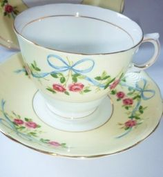 Colclough Vintage China Tea set tea cup trio Pink Roses & Bows
