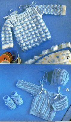 Material: foto nº 8 80g de lã de 2 fios cor azul restos de linha branca ag nº2 1/2 ou 3 jogo de 5 ag nº2 1/2 ou 3 5 botões 2m de fi...