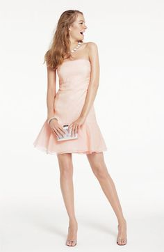 Donna Morgan Strapless Flounce Hem Silk Dress | Nordstrom