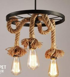 Lamps The Simple Art Cafe Bar Creative Lighting American Retro Restaurant Three Head Rope Industrial Wind Chandelier Personalize