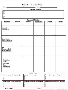 Kindergarten Readiness Checklist Kindergarten Readiness - Free daily lesson plan template printable