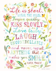 Life is Short art print Inspirational Quote Hand Lettering #shortinspirationalquotes