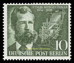 EBS West Berlin 1954 Ottmar Mergenthaler Linotype Printing Michel 117 MNH   eBay