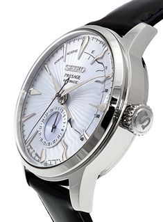 """Amazon.com: SEIKO PRESAGE Power Reserve Ice Blue Cocktail Time """"Sky Diving"""" SSA343J1: Watches"""