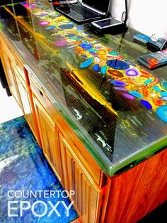 Photos of High-End Epoxy Resin Countertops, Floors, Wall Systems and Outdoor Coatings. Diamond Epoxy is a versatile epoxy made for different applications Resin Countertops, Outdoor Kitchen Countertops, Countertop Materials, Resin Furniture, Painted Furniture, Resin Crafts, Resin Art, Resin Table, Wood Stone