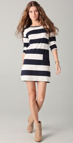 Chinti And Parker Wide Stripe Dress thestylecure.com