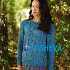 Изумительно красивый пуловер спицами с регланом от Artesano yarns из твидовой пряжи