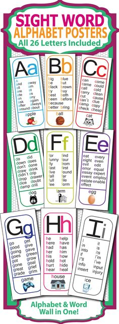 Sight Word Alphabet Posters - All 26 letters (phonics, word wall, & vocabulary)