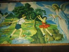 Large FAB Vintage 50s Kitsch Religious Picture - Angels saving children | eBay