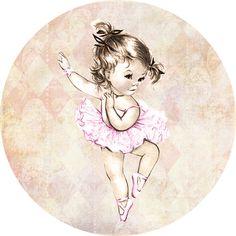 Vintage ballerina themed cupcake topper for baby shower. DIY printable via Etsy.