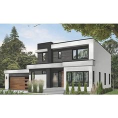Free Shipping. Buy 7344 Construction-Ready Bold Modern House Plan with Basement Foundation (5 Printed Sets) at Small Modern Home, Small Modern House Exterior, Modern Small House Design, Simple House Design, Modern Style Homes, Modern Zen House, Modern House Colors, Modern House Interior Design, Modern House Floor Plans