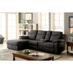 Furniture of America Sina Transitional Linen-like Fabric Reclining Sectional (Brown)