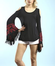 Another great find on #zulily! Black & Red Fringe Cutout Top by Young Threads #zulilyfinds