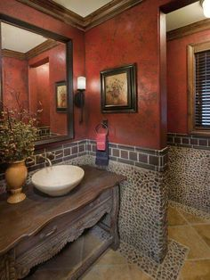 Pebble Tile Bathroom Design Ideas, Pictures, Remodel, and Decor - page 7 Bathroom Red, Dream Bathrooms, Beautiful Bathrooms, Bathroom Ideas, Bathroom Renovations, Bathroom Interior, Tuscan Bathroom, Stone Bathroom, Bathroom Designs
