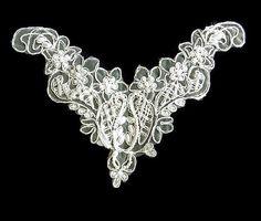 Faux col applique décolleté organza blanc brodé, perles - mercerie - couture - tricot - embellissement - customisation.- cérémonie - mariage.