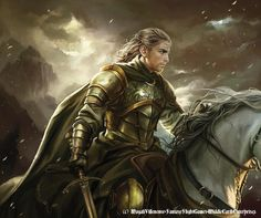 "Eomer by Magali Villeneuve  Daddy says, ""Aragorn, Gimli & Legolas meeting the Rohirrim is much cooler in the book!"" Toby says, ""I think Eomer is crazy challenging Aragon in the book."""